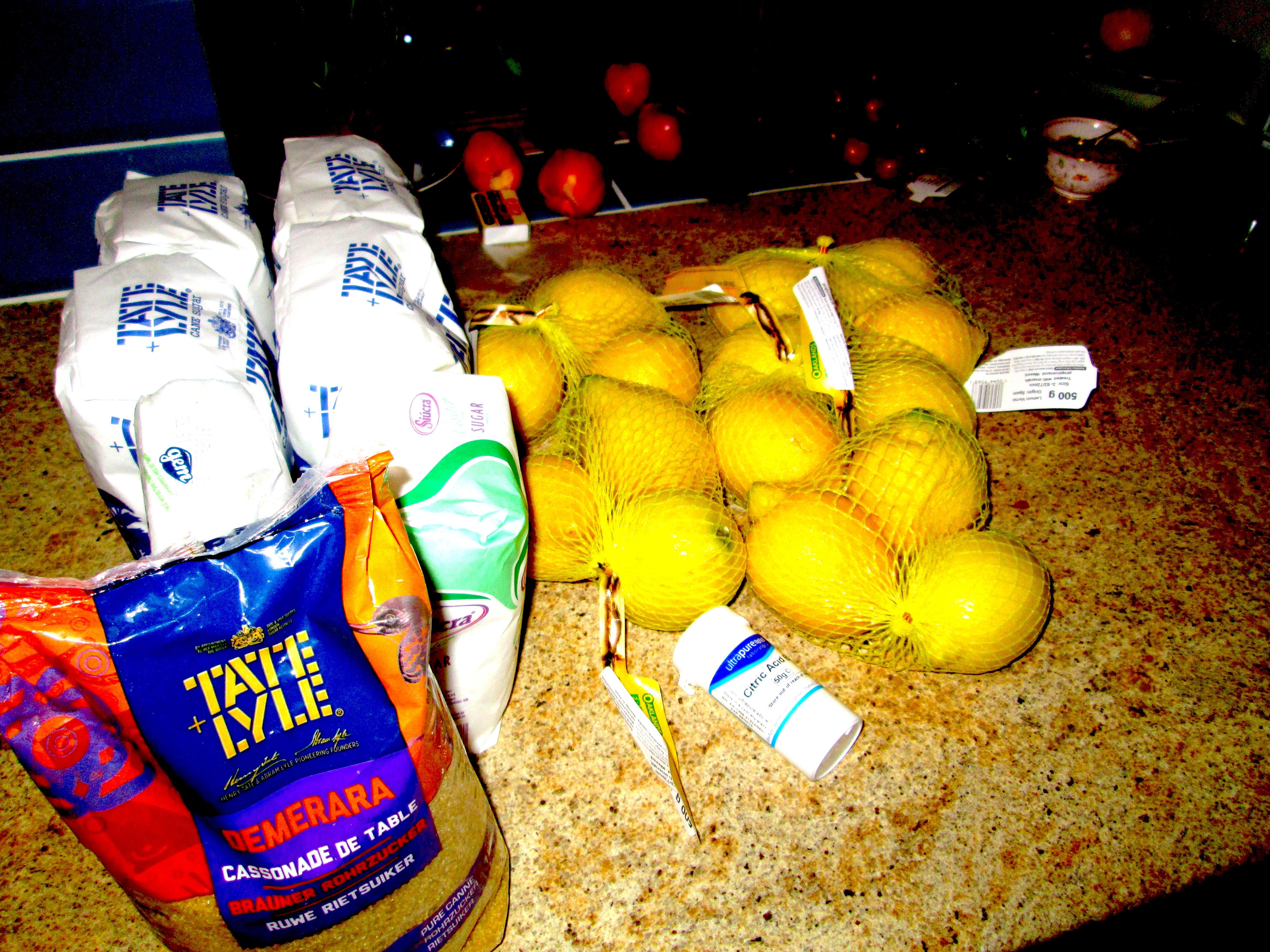 Cordial Ingredients: Sugar, Lemons, citric acid and lots more sugar!!
