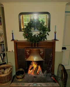 Log Fire and Christmas Wreath